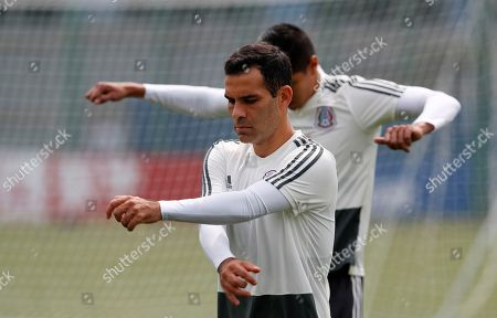 Mexico's Rafael Marquez warm up during a training session of Mexico at the 2018 soccer World Cup in Moscow, Russia