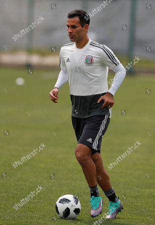 Mexico's Rafael Marquez control the ball during a training session of Mexico at the 2018 soccer World Cup in Moscow, Russia