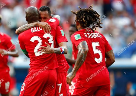 Panama's Felipe Baloy, left, is congratulated by teammates after scoring his team's first goal during the group G match between England and Panama at the 2018 soccer World Cup at the Nizhny Novgorod Stadium in Nizhny Novgorod, Russia