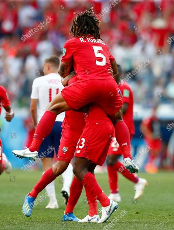 Panama's Roman Torres jumps on teammate Felipe Baloy after she scored their team's first goal during the group G match between England and Panama at the 2018 soccer World Cup at the Nizhny Novgorod Stadium in Nizhny Novgorod, Russia