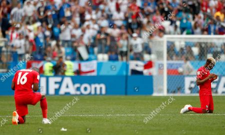 Panama's Michael Murillo, right, and teammate Abdiel Arroyo react following their during the group G match between England and Panama at the 2018 soccer World Cup at the Nizhny Novgorod Stadium in Nizhny Novgorod, Russia