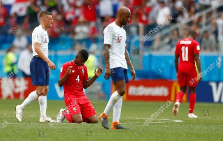 Panama's Fidel Escobar falls to the ground following his team's 6-1 loss in the group G match between England and Panama at the 2018 soccer World Cup at the Nizhny Novgorod Stadium in Nizhny Novgorod, Russia