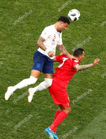 England's Kyle Walker, left, vies for the ball with Panama's Blas Perez during the group G match between England and Panama at the 2018 soccer World Cup at the Nizhny Novgorod Stadium in Nizhny Novgorod, Russia