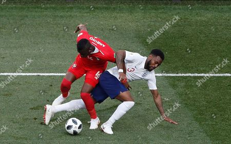 Panama's Abdiel Arroyo, and England's Danny Rose fight for the ball during the group G match between England and Panama at the 2018 soccer World Cup at the Nizhny Novgorod Stadium in Nizhny Novgorod, Russia