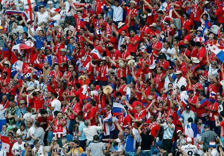 Panama fans react after Panama's Felipe Baloy, scored his site's first goal during the group G match between England and Panama at the 2018 soccer World Cup at the Nizhny Novgorod Stadium in Nizhny Novgorod, Russia