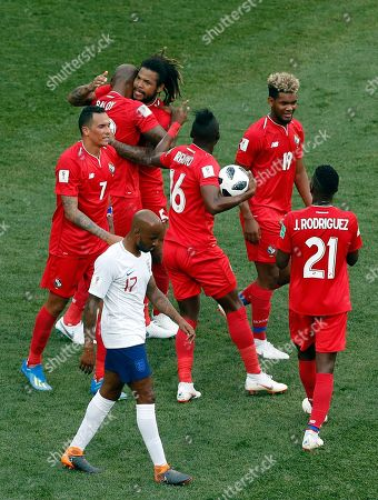 Panama players celebrate after teammate Felipe Baloy, scored his site's first goal during the group G match between England and Panama at the 2018 soccer World Cup at the Nizhny Novgorod Stadium in Nizhny Novgorod, Russia
