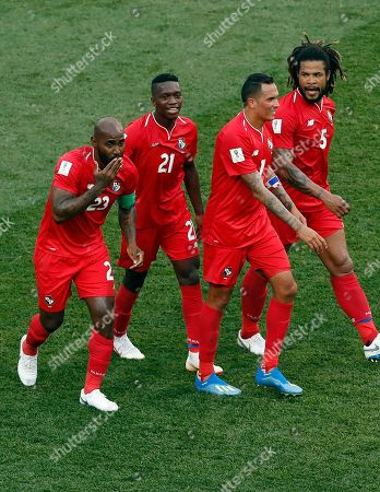 Panama' Felipe Baloy, left, celebrate with teammates after scoring his site's first goal during the group G match between England and Panama at the 2018 soccer World Cup at the Nizhny Novgorod Stadium in Nizhny Novgorod, Russia