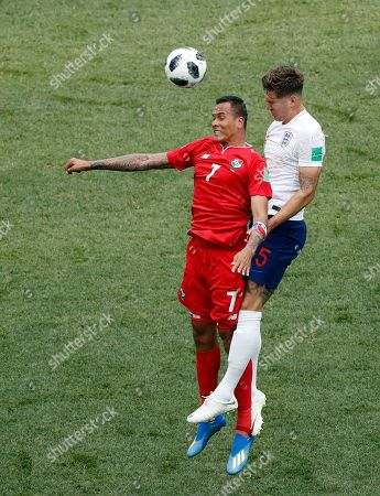 Panama's Blas Perez, left, vies for the ball with England's John Stones, during the group G match between England and Panama at the 2018 soccer World Cup at the Nizhny Novgorod Stadium in Nizhny Novgorod, Russia