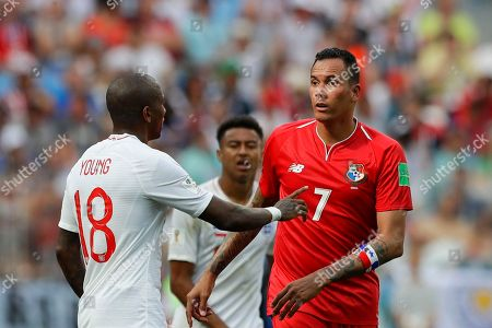 England's Ashley Young, left, gestures to Panama's Blas Perez during the group G match between England and Panama at the 2018 soccer World Cup at the Nizhny Novgorod Stadium in Nizhny Novgorod, Russia