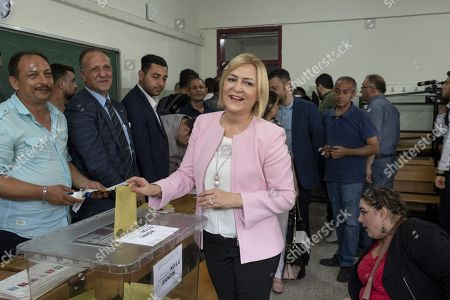 Ulku Ince, the wife of Muharrem Ince, presidential runner of the main opposition Republican People's Party (CHP) votes in her hometown, 50 km from Istanbul. The candidate of the social-democratic party, founded by Mustafa Kemal Ataturk, stands for snap presidential elections, facing with four other opponents to Recep Tayyip Erdogan. His approval rating has been soaring all along his campaign, becoming a real danger for the outgoing president.