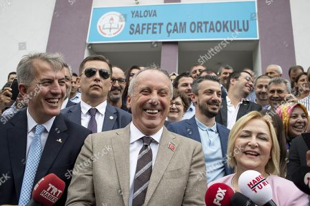 Muharrem Ince, presidential runner of the main opposition Republican People's Party (CHP) speaks to the press after voting in his hometown, 50 km from Istanbul. The candidate of the social-democratic party, founded by Mustafa Kemal Ataturk, stands for snap presidential elections, facing with four other opponents to Recep Tayyip Erdogan. His approval rating has been soaring all along his campaign, becoming a real danger for the outgoing president.