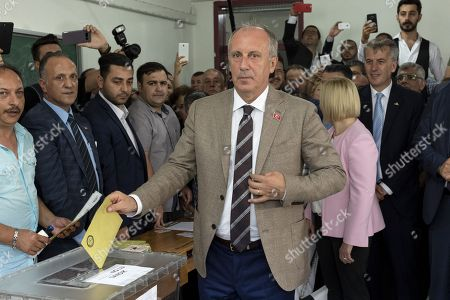 Muharrem Ince, presidential runner of the main opposition Republican People's Party (CHP) votes in his hometown, 50 km from Istanbul. The candidate of the social-democratic party, founded by Mustafa Kemal Ataturk, stands for snap presidential elections, facing with four other opponents to Recep Tayyip Erdogan. His approval rating has been soaring all along his campaign, becoming a real danger for the outgoing president.