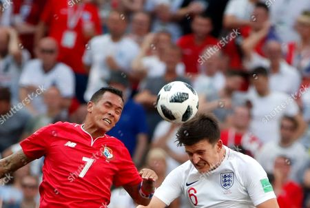 Blas Perez (L) of Panama and Harry Maguire of England in action during the FIFA World Cup 2018 group G preliminary round soccer match between England and Panama in Nizhny Novgorod, Russia, 24 June 2018. (RESTRICTIONS APPLY: Editorial Use Only, not used in association with any commercial entity - Images must not be used in any form of alert service or push service of any kind including via mobile alert services, downloads to mobile devices or MMS messaging - Images must appear as still images and must not emulate match action video footage - No alteration is made to, and no text or image is superimposed over, any published image which: (a) intentionally obscures or removes a sponsor identification image; or (b) adds or overlays the commercial identification of any third party which is not officially associated with the FIFA World Cup)