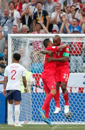 Felipe Baloy (R) of Panama celebrates his goal with teammates during the FIFA World Cup 2018 group G preliminary round soccer match between England and Panama in Nizhny Novgorod, Russia, 24 June 2018.