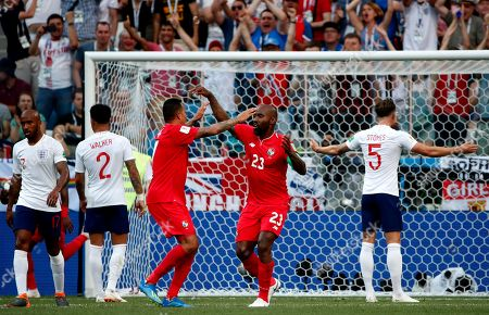 Felipe Baloy (C-R) of Panama celebrates his goal with teammates during the FIFA World Cup 2018 group G preliminary round soccer match between England and Panama in Nizhny Novgorod, Russia, 24 June 2018. (RESTRICTIONS APPLY: Editorial Use Only, not used in association with any commercial entity - Images must not be used in any form of alert service or push service of any kind including via mobile alert services, downloads to mobile devices or MMS messaging - Images must appear as still images and must not emulate match action video footage - No alteration is made to, and no text or image is superimposed over, any published image which: (a) intentionally obscures or removes a sponsor identification image; or (b) adds or overlays the commercial identification of any third party which is not officially associated with the FIFA World Cup)