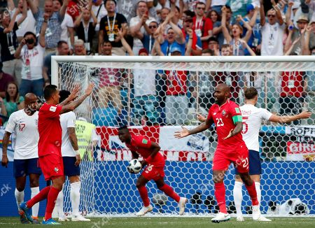 Felipe Baloy (2nd R) of Panama celebrates his goal with teammates during the FIFA World Cup 2018 group G preliminary round soccer match between England and Panama in Nizhny Novgorod, Russia, 24 June 2018.