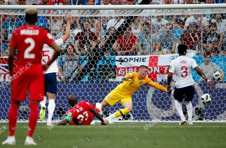 Felipe Baloy (down) of Panama scores a goal during the FIFA World Cup 2018 group G preliminary round soccer match between England and Panama in Nizhny Novgorod, Russia, 24 June 2018.