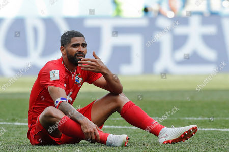 Panama's Gabriel Gomez sits on the pitch during the group G match between England and Panama at the 2018 soccer World Cup at the Nizhny Novgorod Stadium in Nizhny Novgorod, Russia