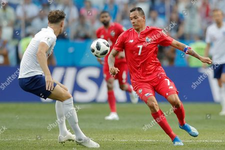 England's John Stones, left, and Panama's Blas Perez fight for the ball during the group G match between England and Panama at the 2018 soccer World Cup at the Nizhny Novgorod Stadium in Nizhny Novgorod, Russia