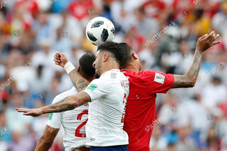 England's Ruben Loftus-Cheek, England's Kyle Walker and Panama's Blas Perez jump for the ball during the group G match between England and Panama at the 2018 soccer World Cup at the Nizhny Novgorod Stadium in Nizhny Novgorod, Russia