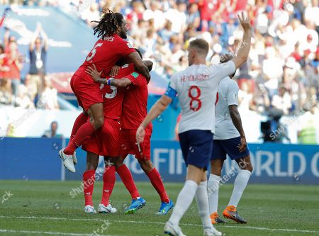Panama players celebrate after their teammate Panama's Felipe Baloy scored during the group G match between England and Panama at the 2018 soccer World Cup at the Nizhny Novgorod Stadium in Nizhny Novgorod, Russia