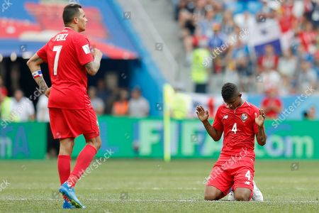 Panama's Blas Perez, left, and Panama's Michael Murillo reacts at the end of the group G match between England and Panama at the 2018 soccer World Cup at the Nizhny Novgorod Stadium in Nizhny Novgorod, Russia, . England won 6-1