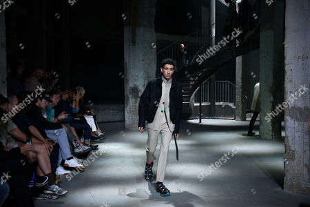 Stock Image of A model presents a creation from the Spring/Summer 2019 Men's Collection by Dutch designer Lucas Ossendrijver for Lanvin during the Paris Fashion Week, in Paris, France, 24 June 2018. The presentation of the Men's collections runs from 19 to 24 June.