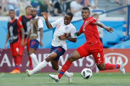 Panama's Fidel Escobar, right, and England's Raheem Sterling battle for the ball during the group G match between England and Panama at the 2018 soccer World Cup at the Nizhny Novgorod Stadium in Nizhny Novgorod, Russia
