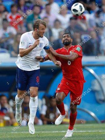 England's Harry Kane, left, and Panama's Gabriel Gomez go for a header during the group G match between England and Panama at the 2018 soccer World Cup at the Nizhny Novgorod Stadium in Nizhny Novgorod, Russia