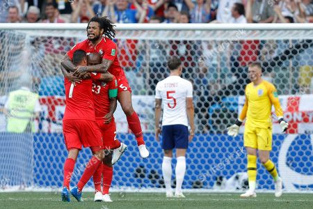 Panama's Blas Perez jumps over teammate Felipe Baloy after he scored his side's opening goal against England during a group G match at the 2018 soccer World Cup at the Nizhny Novgorod Stadium in Nizhny Novgorod, Russia