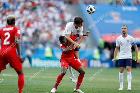 England's Harry Maguire goes for a header over Panama's Fidel Escobar during their group G match between at the 2018 soccer World Cup at the Nizhny Novgorod Stadium in Nizhny Novgorod, Russia