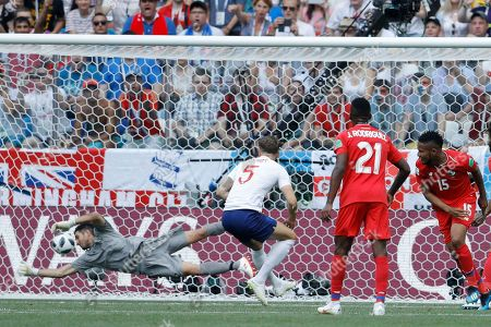 Panama goalkeeper Jaime Penedo can't stop England's John Stones(5) from scoring the opening goal during the group G match between England and Panama at the 2018 soccer World Cup at the Nizhny Novgorod Stadium in Nizhny Novgorod, Russia