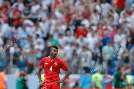 Panama's Fidel Escobar stands on the field at the end of the first time during the group G match between England and Panama at the 2018 soccer World Cup at the Nizhny Novgorod Stadium in Nizhny Novgorod, Russia