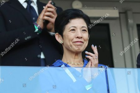 Japan's Princess Takamado attends the group H match between Japan and Senegal at the 2018 soccer World Cup at the Yekaterinburg Arena in Yekaterinburg, Russia