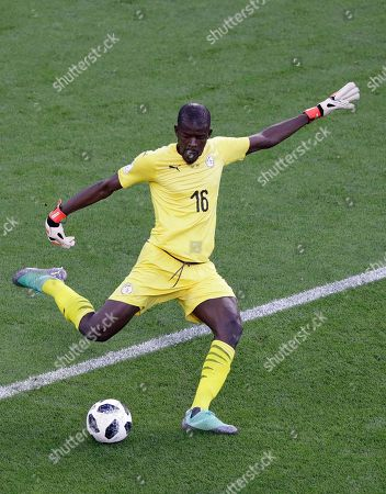 Senegal goalkeeper Khadim Ndiaye kicks the ball during the group H match between Japan and Senegal at the 2018 soccer World Cup at the Yekaterinburg Arena in Yekaterinburg, Russia