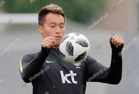 Stock Picture of South Korea's Kim Shin-wook attends South Korea's official training in Lomonosov near St. Petersburg, Russia, at the 2018 soccer World Cup