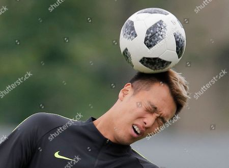 Stock Photo of South Korea's Kim Shin-wook attends South Korea's official training in Lomonosov near St. Petersburg, Russia, at the 2018 soccer World Cup