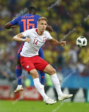 Jefferson Lerma of Colombia and Lukasz Teodorczyk of Poland