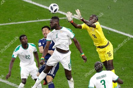 Stock Image of Senegal goalkeeper Khadim Ndiaye punches the ball away during the group H match between Japan and Senegal at the 2018 soccer World Cup at the Yekaterinburg Arena in Yekaterinburg, Russia