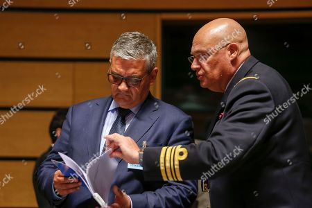 Belgian Federal Minister of Defense Steven Vandeput (L) at the Foreign Affairs Council meeting with Defense Ministers, in Luxembourg, 25 June 2018. Foreign affairs and defence ministers will discuss security and defence cooperation in the EU.