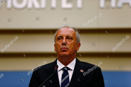 A day after elections, Muharrem Ince, the candidate of Turkey's main opposition Republican People's Party, pauses during a news conference in Ankara, Turkey, . Turkey's president Recep Tayyip Erdogan, 64 who has dominated Turkish politics for the past 15 years, is the winner of Sunday's polls and seems set to extend his rule with sweeping new powers after winning landmark presidential and parliamentary elections