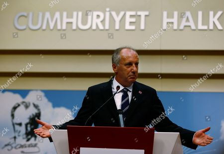 A day after elections, Muharrem Ince, the candidate of Turkey's main opposition Republican People's Party, pauses during a news conference in Ankara, Turkey, . Turkey's president Recep Tayyip Erdogan, 64 who has dominated Turkish politics for the past 15 years, is the winner of Sunday's polls and was set to extend his rule with sweeping new powers after winning landmark presidential and parliamentary elections