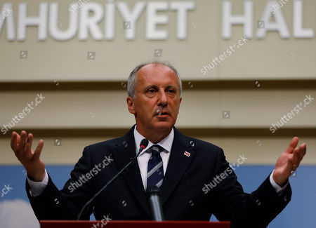 A day after elections, Muharrem Ince, the candidate of Turkey's main opposition Republican People's Party, gestures as he talks during a news conference in Ankara, Turkey, . Turkey's president Recep Tayyip Erdogan, 64 who has dominated Turkish politics for the past 15 years, is the winner of Sunday's polls and was set to extend his rule with sweeping new powers after winning landmark presidential and parliamentary elections