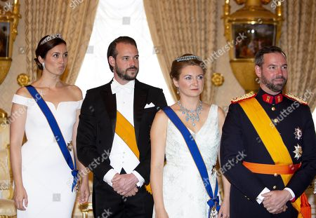 Stock Photo of Hereditary Grand Duke Guillaume of Luxembourg, Grand Duchess Stephanie of Luxembourg, Prince Felix and Princess Claire at the Palace Grand-Ducal during the national day celebrations