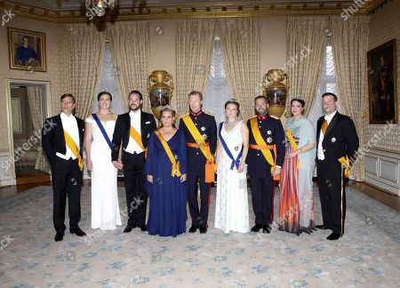 Stock Picture of Grand Duke Henri of Luxembourg and Grand Duchess Maria Teresa of Luxembourg, Hereditary Grand Duke Guillaume of Luxembourg and Grand Duchess Stephanie of Luxembourg, Prince Felix and Princess Claire, Prince Louis, Princess Alexandra, Prince Sebastian at the Palace Grand-Ducal during the national day celebrations