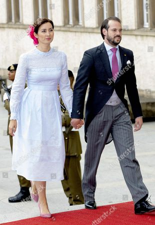 Prince Felix and Princess Claire at the Te Deum at the Notre-Dame cathedral