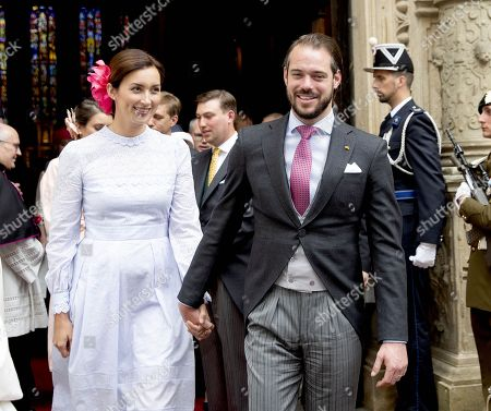 Prince Felix and Princess Claire during the Te Deum at the Notre-Dame cathedral