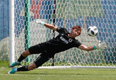 Japan's goalkeeper Masaaki Higashiguchi during a training session at the FC Rubin Training Ground sports base in Kazan, Russian Federation, 25 June 2018. Japan will face Poland on 28 June in Volgograd for their last group match at the FIFA World Cup 2018.