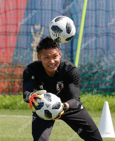 Japan's goalkeeper Kosuke Nakamura during a training session at the FC Rubin Training Ground sports base in Kazan, Russian Federation, 25 June 2018. Japan will face Poland on 28 June in Volgograd for their last group match at the FIFA World Cup 2018.
