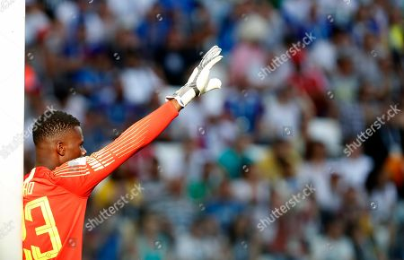 Nigeria goalkeeper Francis Uzoho gives instructions to his players during the group D match between Nigeria and Iceland at the 2018 soccer World Cup in the Volgograd Arena in Volgograd, Russia